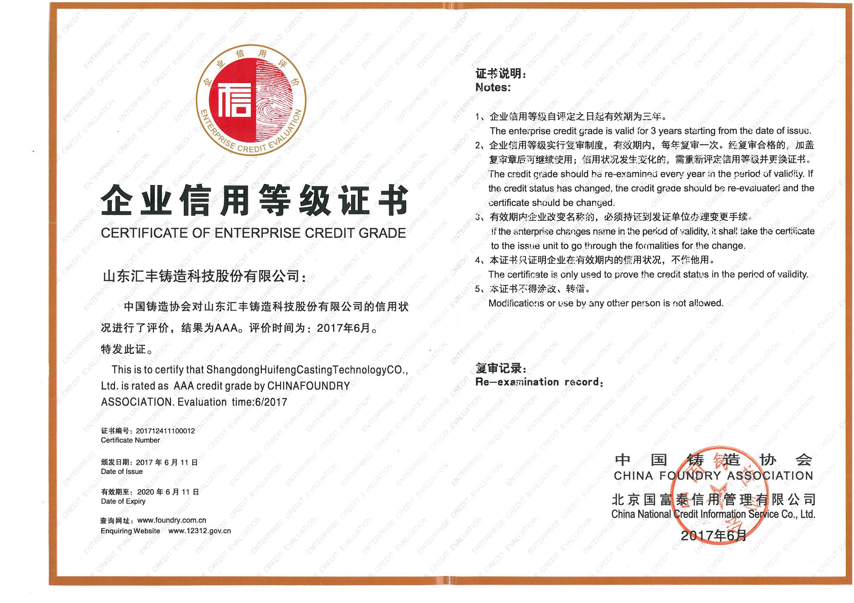 中国yabo2023协会企业信用等级三A级